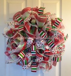 Red, Green and White Christmas mesh and ribbon wreath.