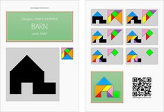 Tangram worksheet 6 : Barn - This worksheet is available for free download at http://www.tangram-channel.com