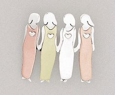 4 sisters pin - german silver, brass and copper