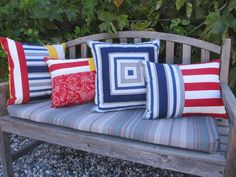 Outdoor Pillow Cover, Pool Patio Pillows, Striped Indoor Outdoor Lawn  Cushions, Red, White, Blue, Yellow, Outdoor Cushions Geometric Design