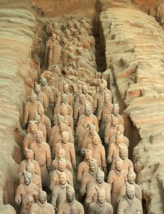 Terracotta Warriors, Xian, China. Sculptures depicting the armies of Qin Shi Huang, the first Emperor of China, buried with the emperor in 210–209 BC.