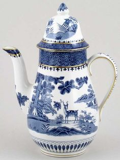 Vintage Booths Teapot Lowestoft Deer Silicon China Blue White Antique Numbered Pottery & China Pottery & Glass