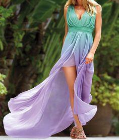 Victoria Secret Ombre Maxi Dress Blue Green Purple SOLD OUT 4 NWOT Chiffon Aqua