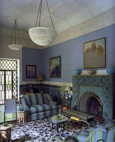 Yves Saint Laurent and Pierre Bergé's Villa Oasis in Marrakech .tadelakt plaster and zellige tiles.periwinkle blue and intricate moldings. Moroccan Design, Moroccan Decor, Moroccan Room, Moroccan Style, Decoration Inspiration, Interior Inspiration, Style At Home, My Living Room, Living Spaces