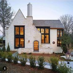 Modern Farmhouse house exterior ideas with white brick. Love the lines of the front roof and how it intersects with the main roof line. Curb appeal ideas, house exterior inspo, white houses with gray roofs Casas Containers, House Goals, My Dream Home, Dream Homes, Home Fashion, Curb Appeal, Future House, Modern Farmhouse, Modern Cottage