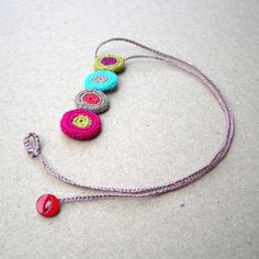 Crochet Flower Necklace Free Pattern | Crochet Wire Jewelry Patterns and Bridal Jewelry by Yoola on Etsy