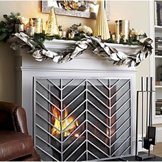 Chevron Fireplace Screen in Fireplace Accessories | Crate and Barrel