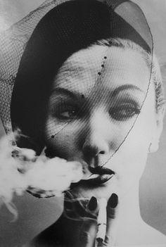 William Klein - Smoke and Veil, Paris, 1958 (Vogue. model, barbara mullen))
