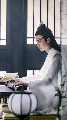 Lan Wangji with his zither I Want To Cry, Chinese Man, The Grandmaster, Drama Series, China, Live Action, Handsome, Fan Art, Singer