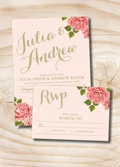 Pink and Gold Glitter Floral Wedding Invitation and Response Card - 100 Professionally Printed Invitations & Response Cards by PaperHeartCompany on Etsy