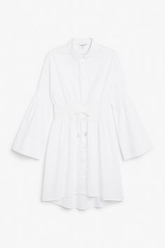 Monki Smocked shirt dress in White