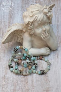 Boho Chic Bracelet, Amazonite Bracelet , Layered Bracelet, Rhinestones , Christmas Gift, Gift for her One of my favourite bracelets with faceted Amazonite gemstones, opalescent champagne colour crystal beads and a lot of antique Rhinestones . Each of the Amazonite beads has such a