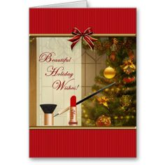 Makeup - Cosmetics Holiday Wishes Blank Card