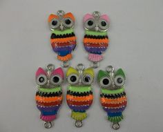 10pcs Mix Color Alloy Enamel Owl Charms Connector 42 5x19mm | eBay