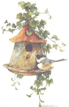 Birdhouse with Chickadee (Carolyn Shores Wright)