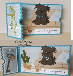 Marianne Design Cards, Collectible Cards, Animal Cards, Punch Art, Echo Park Paper, Making Ideas, Stencils, Birthday Cards, Dog Cat