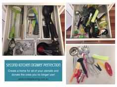 Organised Kitchen Drawers  Organise your cluttered kitchen drawers by removing what you no longer need and making a home for the things you use!    Kaarin - Professional Organiser - Nordic Planning, Perth