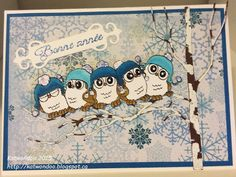 Art Impressions Rubber Stamps: Ai Whoots: Five Whoots (Sku#L4123) ... handmade New Years card with owls.
