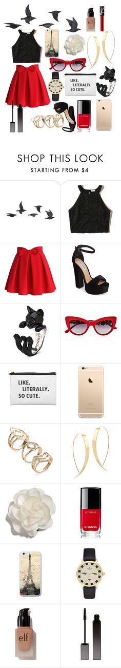 """""""little red skirt"""" by sid2000 ❤ liked on Polyvore featuring Jayson Home, Hollister Co., Chicwish, Steve Madden, Dolce&Gabbana, Lana, Cara, Chanel, Kate Spade and e.l.f."""