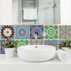 5 Pieces 30 Small Pieces in All Moroccan Tiles Wall - Stairs - Tile Stickers - Removable Kitchen Bathroom Wall Stickers Green Wall Stickers, Wall Stickers Wallpaper, Plant Wallpaper, Wall Decor Stickers, Self Adhesive Wallpaper, Wall Art Decor, Moroccan Home Decor, Moroccan Furniture, Moroccan Design