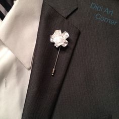 A personal favorite from my Etsy shop Mini Carnations, White Carnation, Buttonholes, Lapel Pins, Pin Collection, Men's Fashion, Fashion Accessories, My Etsy Shop, Satin