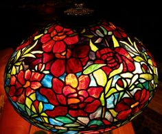 """Tiffany Reproduction Stained Glass Lamp Shade 22"""" Red Peony Odyssey Pattern #TiffanyStainedGlass"""