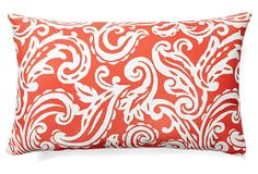 One Kings Lane - Bright Spots - Coral and White 12x18 Pillow