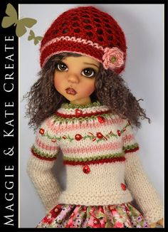 """Almond, Red & Green Outfit #2 for Kaye Wiggs 18"""" MSD BJD by Maggie & Kate Create"""