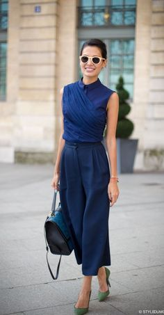 blue monochrome outfit