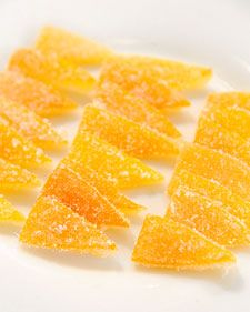 Candied Meyer Lemon Peel. Watch the attached video too. Recipe calls for cream of tartar. Keeps sugar/water mixture from crystallizing. I never knew that!                                                             I just made this, save the syrup too! It's delicious.