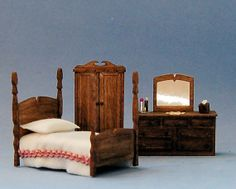 1/4 inch scale miniatureArcadia Bedroom by sdkminiatures on Etsy, $42.00