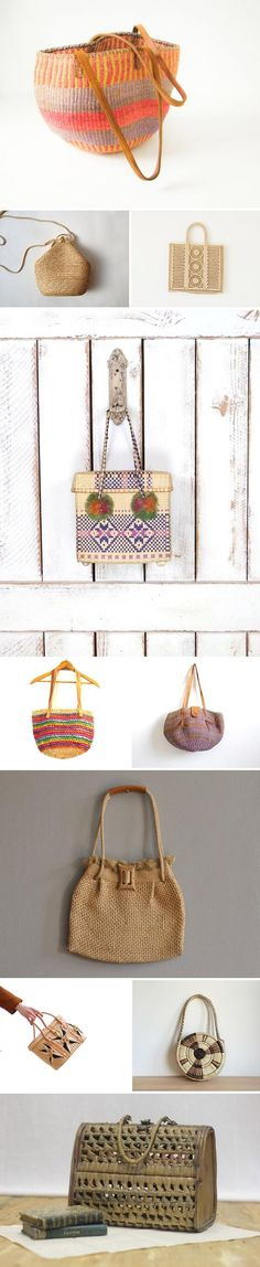 Vintage woven bags (in raffia, straw, and jute) are all over our favorites lists right now; here are a few of our latest finds. From top: BeeJayKay; TukVintage; standardedition; GreenCanyonTradingCo; RufflesandDaisies; Zia Vintage; prettytalitha; Roselein Rarities; AysisCompany; AuLapinNoir. #etsyvintage