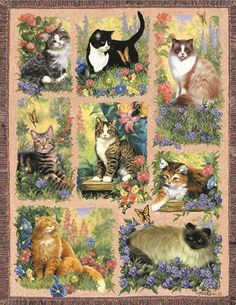 Cat Afghan is a 1000 piece jigsaw puzzle by SunsOut. Puzzle measures x when complete. Art by Linda Picken. Sunsout puzzles are made in the USAEco-friendly soy-based inksRecycled boardsNot sold in mass-market stores I Love Cats, Crazy Cats, Cool Cats, Beautiful Cats, Animals Beautiful, Cute Animals, Cat Fabric, Cat Quilt, Cat Cards