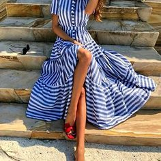 VERYVOGA Striped Short Sleeves A-line Maxi Casual/Vacation Dresses Source by bozenastellmacher casual Stylish Dresses, Casual Dresses, Fashion Dresses, Maxi Dresses, Casual Outfits, Fitted Dresses, Formal Outfits, Maxi Skirts, Floral Dresses