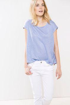 Camiseta Lino Combinada   Camisetas de Mujer en Cortefiel
