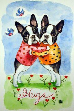Boston Terrier Dog Giclee Fine Art Print size 8x10 by DogArtByLyn, $19.94
