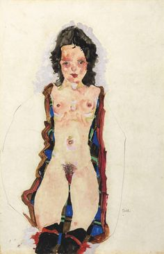 Egon Schiele - Akt mit roten Strumpfbändern (Nude with Red Garters), 1911.
