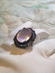 Vintage Handmade Rose Quartz setting Sterling Silver Ring by NemesisNYC on Etsy