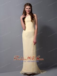 Cheap Light Yellow Halter Top Bridesmaid Dress with Brush Train  http://www.fashionos.com  We love long, flowing dresses with soft feelings. They are a great choice for any body style and are always in style. This one made in a traditional sheath-style and features a halter top. vThis lovely, feminine creation ends as a full length gown with a adorable mini-train. Perfect for any formal function.