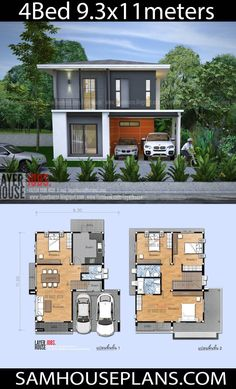 House Plans Idea 9 with 4 Bedrooms - Sam House Plans Two Story House Design, 2 Storey House Design, Small House Design, Home Building Design, Home Room Design, Home Design Plans, Duplex House Plans, Dream House Plans, House Floor Plans