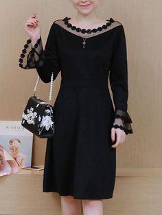 #Fashionmia - #Fashionmia Round Neck  Decorative Lace See-Through  Plain  Polyester Skater Dress - AdoreWe.com