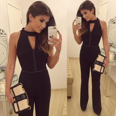 All black. Lace Jumpsuit, Jumpsuit Pattern, Office Outfits, Casual Outfits, Cute Outfits, Dark Fashion, Fashion Looks, Dress Outfits, Fashion Outfits