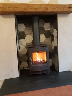 We fitted this Aga Ellesmere 4 with a riven slate hearth and hex tiles recently, if your thinking of fitting yourself check out our D. Hearth Tiles, Slate Hearth, Wood Burner Fireplace, Cozy Fireplace, Electric Log Burner, Décor Ideas, Room Ideas, Front Rooms, Fire Places