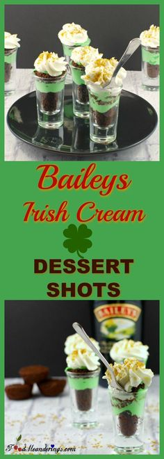 These St. Patrick's Shamrock Baileys Irish Cream Dessert Shots can be made in 15 minutes and are the perfect fast and easy green dessert for St. Patrick's Day. The mini desserts are made with 2 bite brownies, pudding and Baileys Irish cream (or use Irish Cream extract if you prefer not to use alcohol), but you can indulge guilt-free because they are miniature!