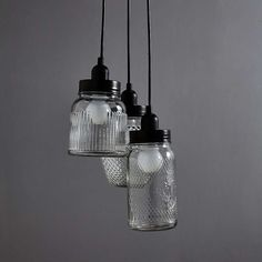 Create a vintage feel in your living space with our unique glass jar light fitting, featuring a cluster of three glass jars in various shapes, sizes and texture. Lamp, Novelty Lamp, Glass Jars, Light Fittings, Dunelm, Jar Lights, Glass, Cluster Lights, Fittings