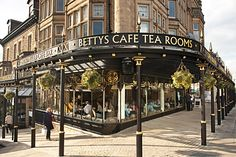 Bettys Cafe Tea Rooms, Yorkshire Bettys Cafe Tea Rooms was founded in Harrogate in 1919 by Frederick Belmont who immigrated to England from Switzerland. Now numbering six branches across Yorkshire, Bettys is operated by Belmont's descendants. Yorkshire England, Yorkshire Dales, North Yorkshire, Visit Yorkshire, Yorkshire Tea, Bettys Harrogate, Shop Fronts, Great British, British Isles