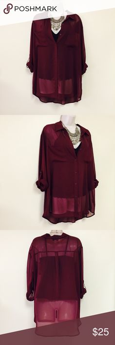 """DECREE Dark Red Chiffon Button Down Top XL *Brand: Decree  *Condition: Excellent condition; only worn once w/ no signs of wear.  *Size: XL  *Pit to pit: 24"""" *Length: 28""""-31""""  *This top is super cute for the fall & winter season with cute black or brown boots and leggings! It can be dressed up or down according to the accessories.   *The mannequin is wearing a black undershirt that does not come with the top. Decree Tops Button Down Shirts"""
