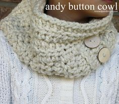 Chunky Andy Buttoned Cowl - Free #Crochet Pattern from Rescued Paw Designs