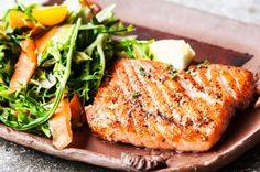 Simple, perfectly grilled salmon with a maple/butter glaze. For a little heat, add a drizzle of wasabi and soy.   recipes, summer, grilling, seafood