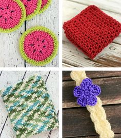Easy Crochet Watermelon Coasters Pattern! They are perfect for summertime fun! Make sure you try out this free crochet coaster pattern!